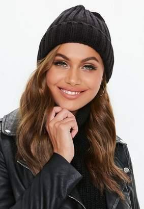 Missguided Black Beanie Hat