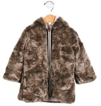 Lili Gaufrette Girls' Reversible Faux Fur Coat w/ Tags