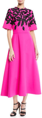 Oscar de la Renta Leaf-Motif Embroidered Long Day Dress