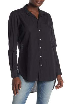 Frank And Eileen Sheer Stripe High/Low Button Front Shirt