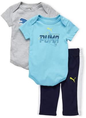 Puma Newborn Boys) 3-Piece Logo Bodysuit & Track Pant Set