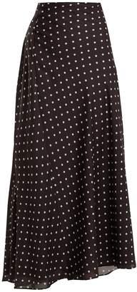 Haider Ackermann Gathered-detail polka-dot print satin maxi skirt