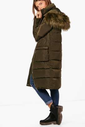 boohoo Tall Faux Fur Trim Quilted Parka