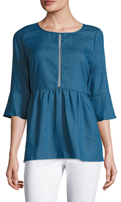Flared Cuff Denim Tunic $85 thestylecure.com