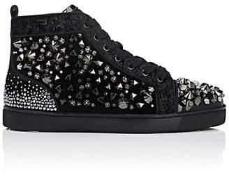 Christian Louboutin Men's Louis Flat Mixed Fabric Sneakers - Black