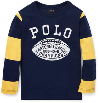 Ralph Lauren Polo Football Striped-Sleeves T-Shirt, Size 2-4
