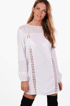 boohoo Lace Insert Long Sleeve Shift Dress