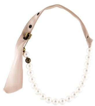Lanvin Faux Pearl & Crystal Safety Pin Necklace