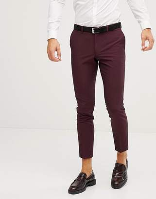 Burton Menswear skinny fit suit pants in berry