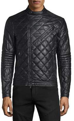 Moncler Debise Quilted Leather Moto Jacket, Black $3,395 thestylecure.com