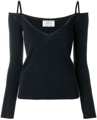 Prada off-shoulder knitted top