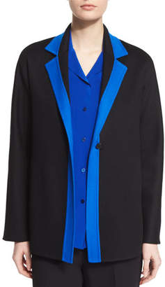 Shamask Contrast-Trim Long-Sleeve Jacket, Black/Blue