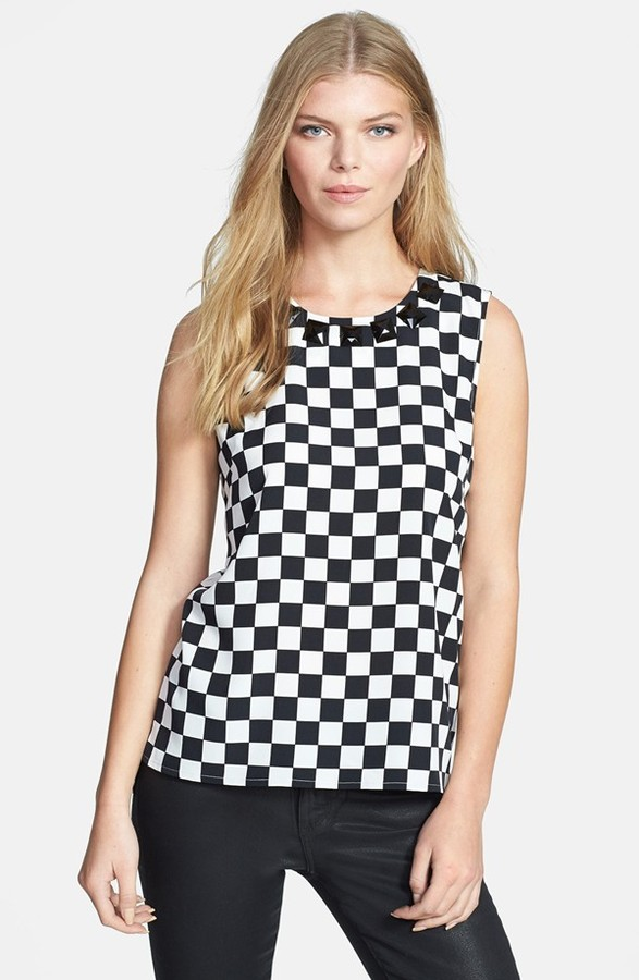 Chaus Embellished Checkerboard Print High/Low Blouse
