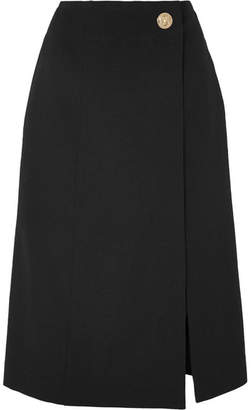 Givenchy Wrap-effect Grain De Poudre Wool Skirt - Black