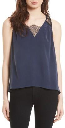 Women's Joie Alvery Lace Trim Silk Shell $198 thestylecure.com