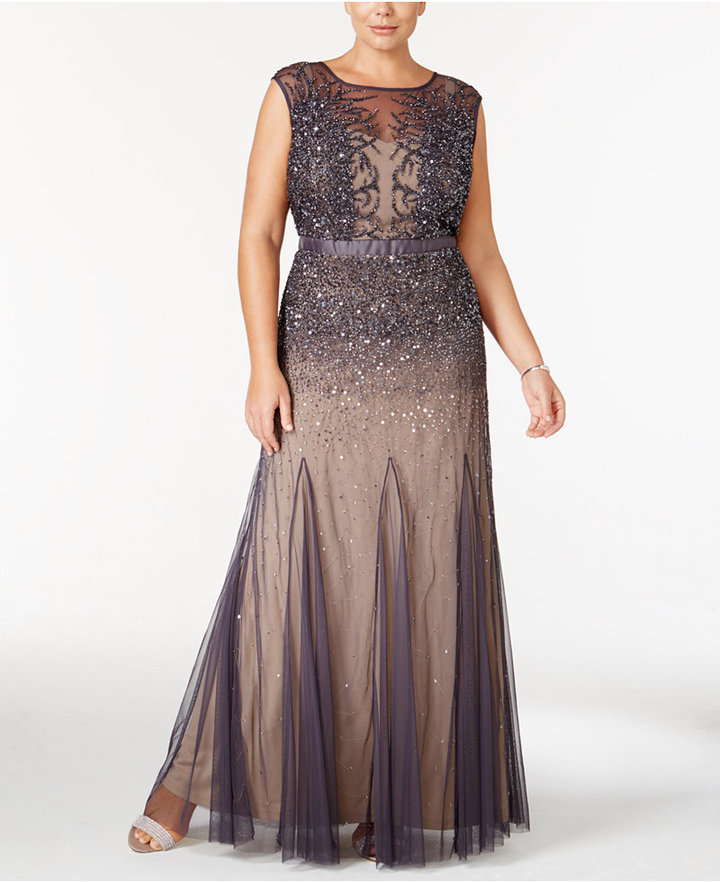 Adrianna PapellAdrianna Papell Plus Size Beaded Illusion Gown