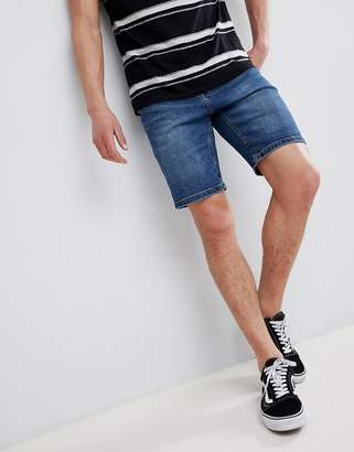 Bershka Slim Fit Denim Shorts In Blue