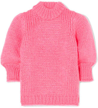 Ganni Julliard Mohair And Wool-blend Sweater - Pink