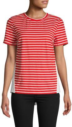 ENGLISH FACTORY Striped Front Cotton-Blend Tee
