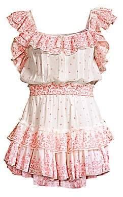 LoveShackFancy Women's Marina Floral Polka Dot Plisse Ruffle Mini A-Line Dress
