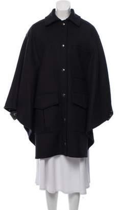 Belstaff Point-Collar Wool Cape Coat wool Point-Collar Wool Cape Coat