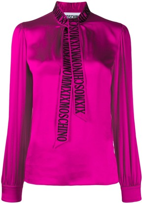 Moschino embroidered logo pussy bow blouse