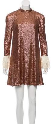 Rachel Zoe Sequined Mock Neck Dress