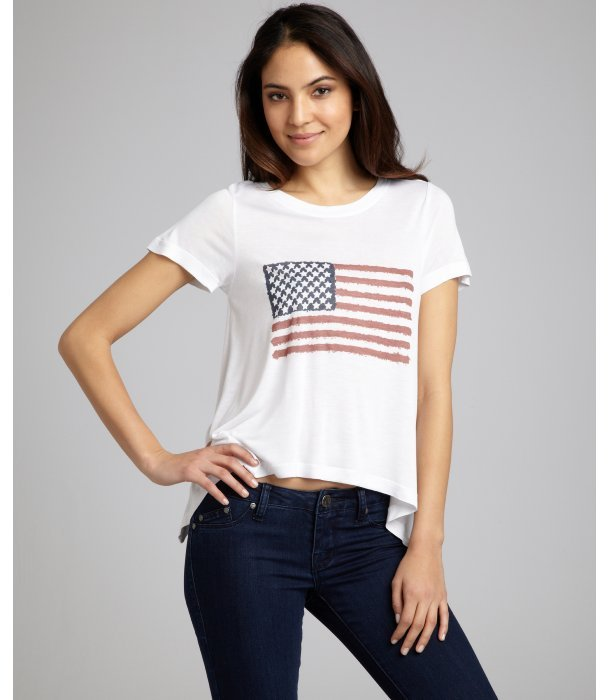 Dolce Vita off white stretch jersey 'Martha' sharkbite hem t-shirt