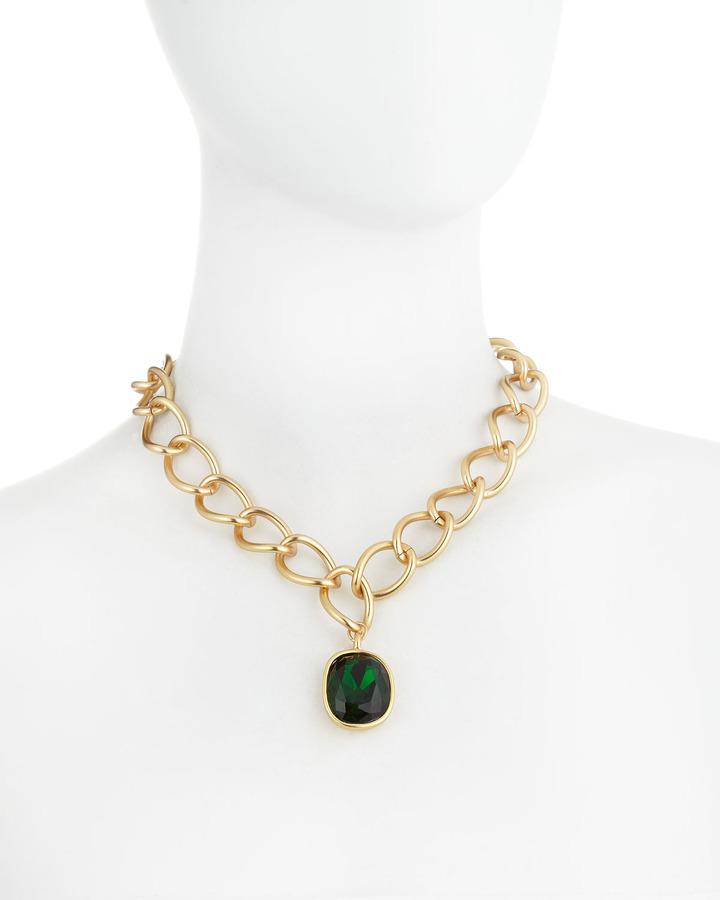 Kenneth Jay Lane Large Pendant Link Necklace, Emerald