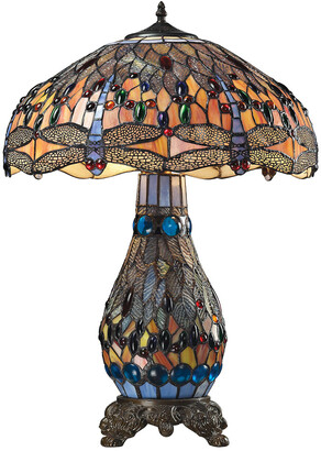 Tiffany & Co. Elk Lighting Dragonfly Glass Table Lamp