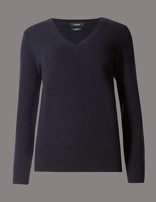 Marks and Spencer Pure Cashmere Ribbed Hem V-Neck Jumper