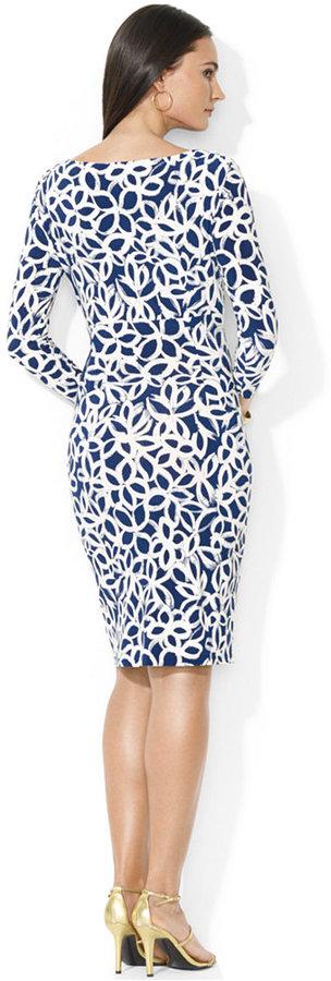 Lauren Ralph Lauren Three-Quarter-Sleeve Floral-Print Faux-Wrap Dress 3