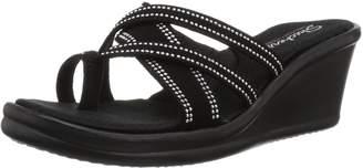 Skechers Women's Rumblers-Cali Spell-Studded Multi Strap Slide with Memory Foam Wedge Sandal