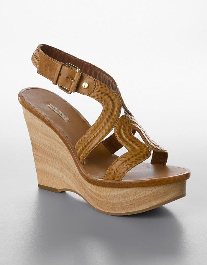 Max Studio Cane Embossed-Leather Platform Wedge Sandals