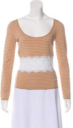 Valentino Lace-Paneled Striped Top
