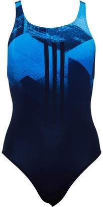 adidas Womens Infinitex+ 3 Stripe Swimsuit Collegiate Navy/Shock Blue