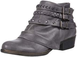 Sugar Truth Womens Fashion Braided Buckle and Studded Strap Low Heel Ankle Boot