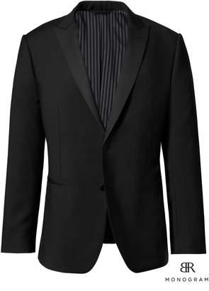 Banana Republic Slim Monogram Black Italian Wool-Mohair Tuxedo Jacket