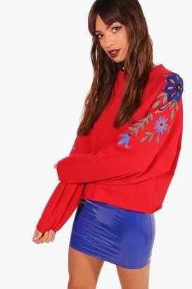 boohoo Oversized Embroidered Sweatshirt