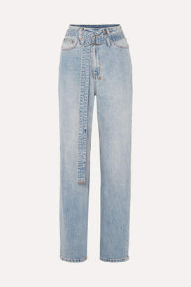 Ksubi Playback Belted High-rise Straight-leg Jeans - Light denim