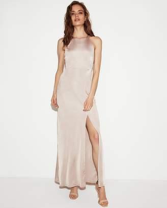 Express Satin High Slit Maxi Dress