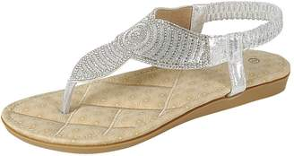 Cambridge Silversmiths Select Women's T-Strap Thong Crystal Rhinestone Glitter Stretch Slingback Flat Sandal (9 B(M) US, )