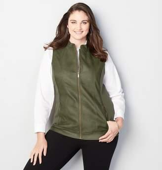 Avenue Quilt Trim Faux Leather Vest