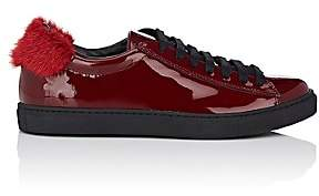 Mr & Mrs Italy WOMEN'S MINK-FUR-TRIMMED PATENT LEATHER SNEAKERS - MD. RED SIZE 8