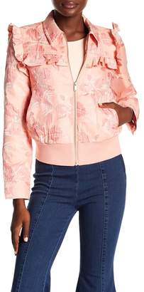 Rachel Roy Ruffle Trim Floral Jacket
