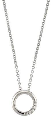 Bony Levy 18K White Gold Pave Diamond Petite Circle Pendant Necklace - 0.02 ctw