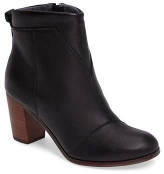 Toms Lunata Leather Block Heel Bootie