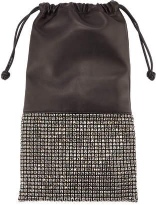 Alexander Wang Ryan Crystal-Studded Drawstring Pouch Bag