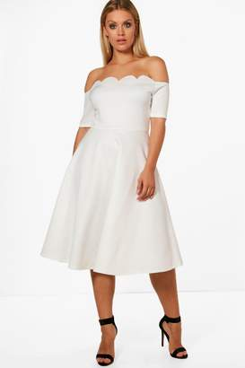 boohoo Plus Scallop Off Shoulder Midi Skater Dress