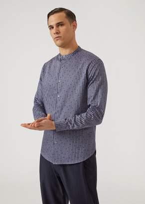 Emporio Armani Oxford Cotton Shirt With Mandarin Collar And All-Over Logo